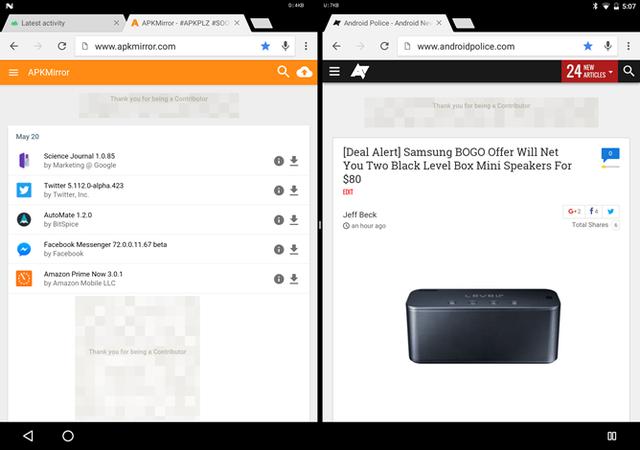 Android N cho phép hiển thị hai cửa sổ trình duyệt Chrome ở chế độ chia đôi màn hình