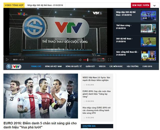 Giao diện hiện đại, tiện ích của chuyên trang Thể thao VTV