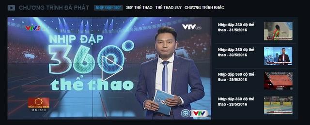 Khán giả có thể xem lại các bản tin, chương trình thể thao trên sóng VTV ở mục Chương trình đã phát