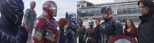 Cuộc chiến giữa các siêu anh hùng từng kề vai sát cánh với nhau sẽ nổ ra trong Captain America: Civil War (Hình ảnh lấy từ trailer)