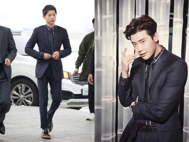 Bộ vest lịch lãm của Dior được Song Joong Ki diện khi ra sân bay trong khi nam diễn viên trẻ Lee Jong Suk bảnh bao trên tạp chí GQ Taiwan.
