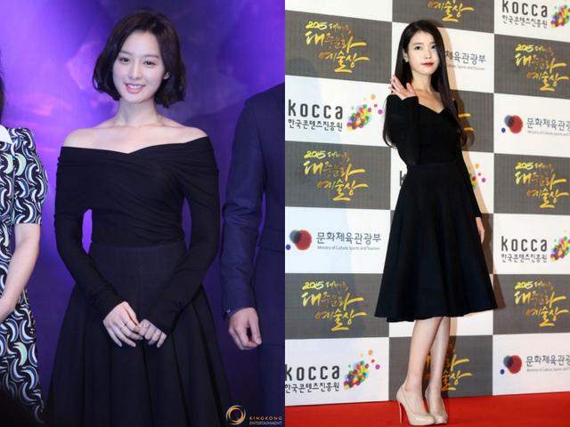 Nữ diễn viên Kim Ji Won và ca sĩ IU cùng diện chiếc váy xoè màu đen ở hai sự kiện khác nhau.