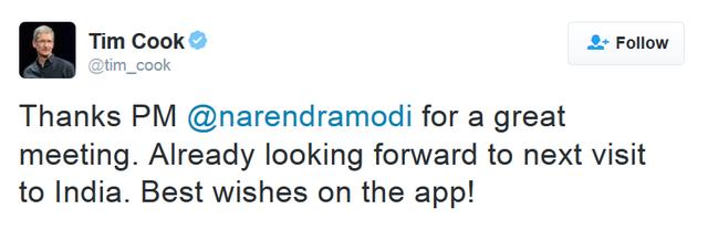 Tim Cook chia sẻ cảm xúc sau cuộc gặp gỡ Thủ tướng Ấn Độ trên trang Twitter cá nhân