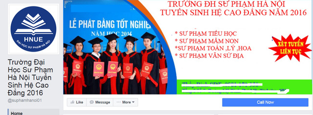 Một fanpage giả mạo trường Đại học Sư phạm Hà Nội mà độc giả gửi tới.
