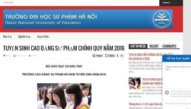 Một website giả mạo trường Đại học Sư phạm Hà Nội gây hiểu nhầm cho phụ huynh và thí sinh.