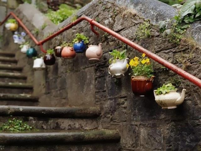 Những chiếc ấm cũ trở thành những chậu cây xinh xắn cho hành lang của ngôi nhà.