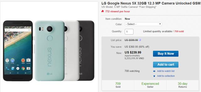 Nexus 5X được giảm giá sốc trên eBay