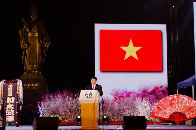 Chủ tịch UBND thành phố Hà Nội - ông Nguyễn Đức Chung phát biểu tại sự kiện