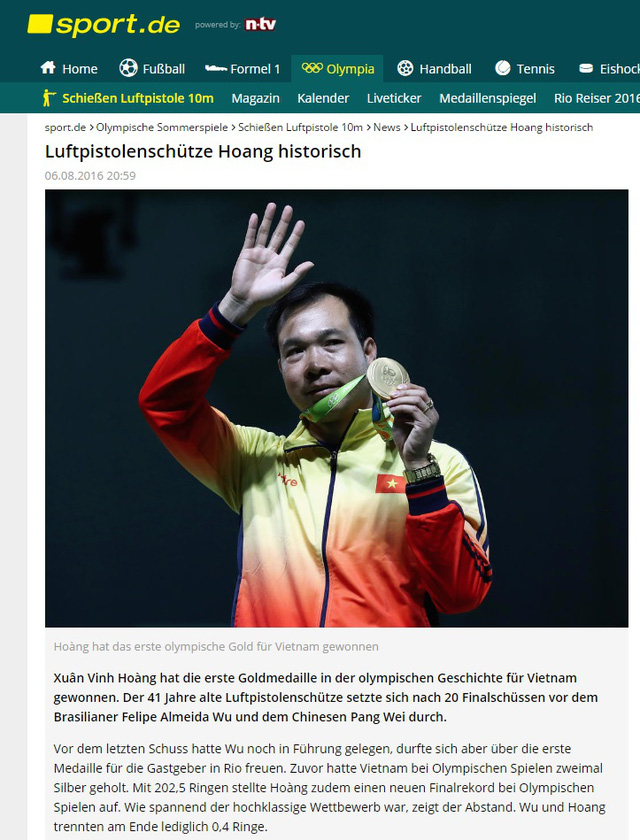 Hoàng Xuân Vinh trên tờ Sport.de của Đức