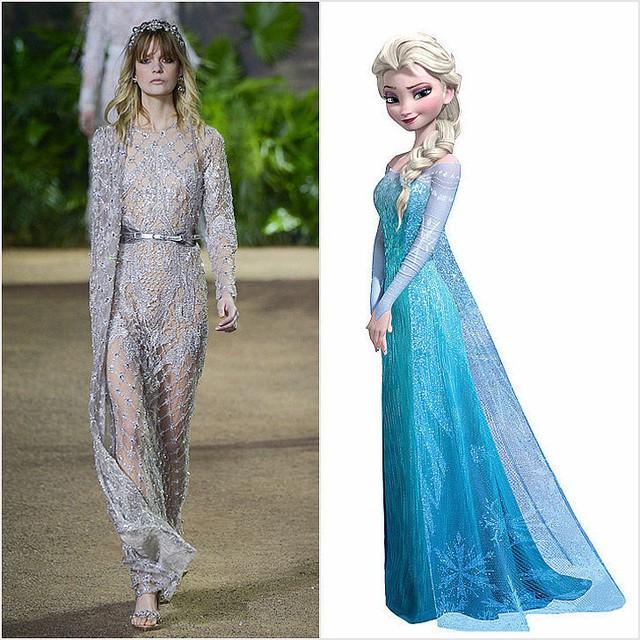 Công chúa Elsa của Frozen được tái hiện qua bộ cánh tuyệt đẹp của Elie Saab.