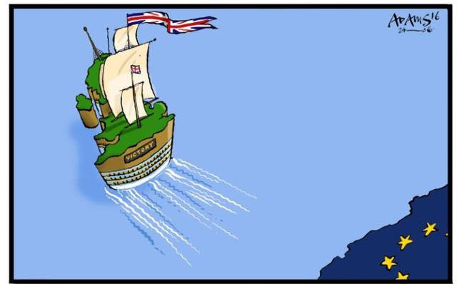 Những hình ảnh minh họa về việc Anh rời EU cũng bắt đâu xuất hiện trên mạng xã hội và báo chí Anh.