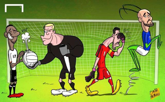 Ở trận tứ kết kinh điển giữa Đức và Italy, J.Boateng chơi bóng chuyền, Zaza lấy đà như cào cào. Trong khi đó, Neuer giúp đồng đội Boateng thoát tội còn Buffon thì không.
