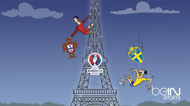 Ronaldo cùng Bồ Đào Nha tiếp tục leo cao ở tháp Eiffel còn Ibra rơi tự do cùng ĐT Thụy Điển.