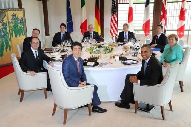 Phiên thảo luận của các lãnh đạo G7 (Ảnh: Reuter)