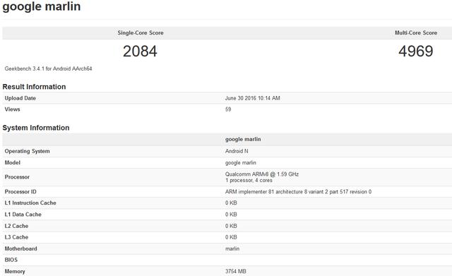 Cấu hình của HTC Nexus M1 xuất hiện trong cơ sở dữ liệu của trang công nghệ Geekbench