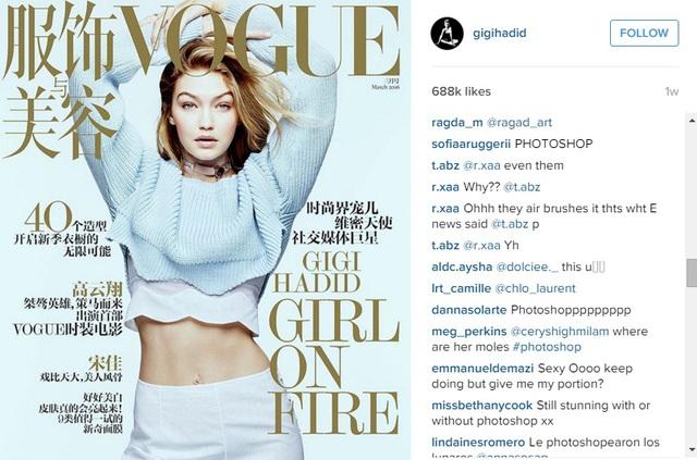 Các fan bức xúc vì photoshop đã làm mất những nét tự nhiên của Gigi Hadid.
