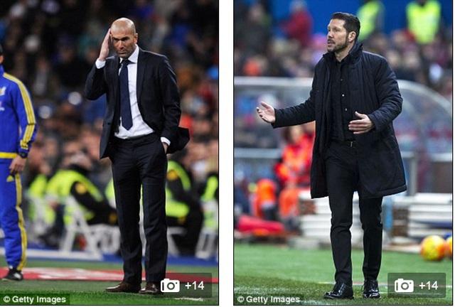 HLV Zidane (trái) và Simeone đang đau đầu với lệnh cấm mua bán trong hai kỳ chuyển nhượng.