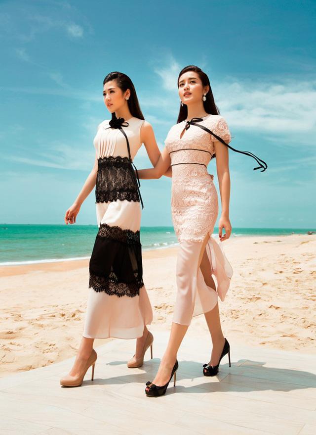 Trong bộ ảnh mang chủ đề Bản tình ca của biển, á hậu Huyền My, Tú Anh thể hiện những thiết kế chất liệu ren voan mềm mại, màu đơn sắc nền nã.