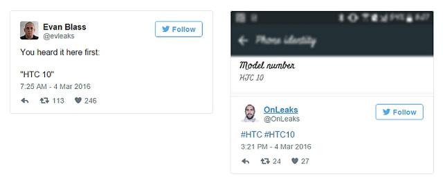 Xác nhận của Evan Blass và OnLeaks về tên gọi mới của HTC One M10