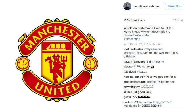 Zlatan Ibrahimovic đăng hình logo của Man Utd kèm theo lời khẳng định sẽ tới đội bóng này ở mùa giải tới