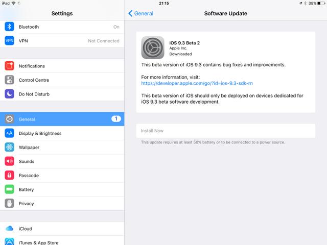 Apple phát hành bản cập nhật iOS 9.3 beta 2 dành cho các nhà phát triển