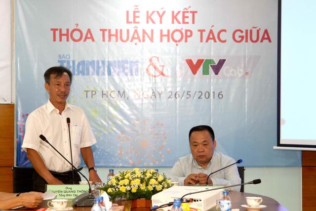 Ông Nguyễn Quang Thông - Tổng Biên tập Báo Thanh niên phát biểu tại buổi lễ