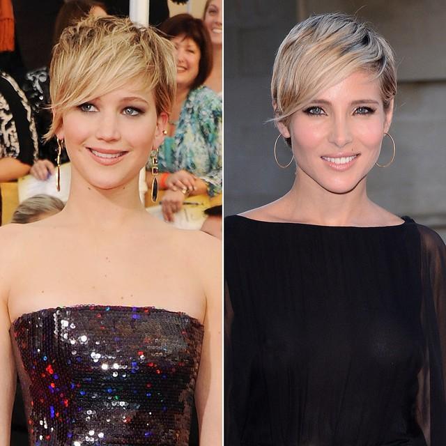 Nhìn bức hình này, trông nữ diễn viên Jennifer Lawrence và ngôi sao truyền hình Elsa Pataky không khác gì chị em với mái tóc, kiểu cách nhang nhác nhau