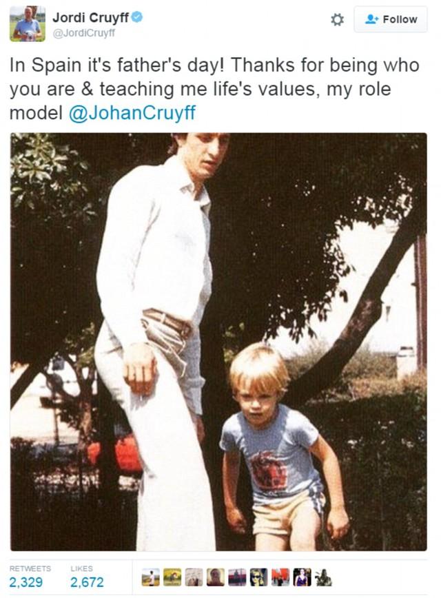 Johan Cruyff được cha truyền cảm hứng bóng đá và ông cũng truyền cảm hứng cho con trai mình là Jordi Cruyff.