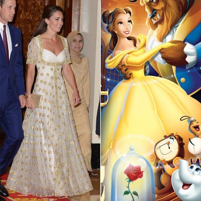Công nương Kate Middleton diện bộ cánh sang trọng - một thiết kế của Alexander McQueen. Bộ cánh này gợi nhắc đến nàng công chúa Bella trong phim Người đẹp và quái vật.