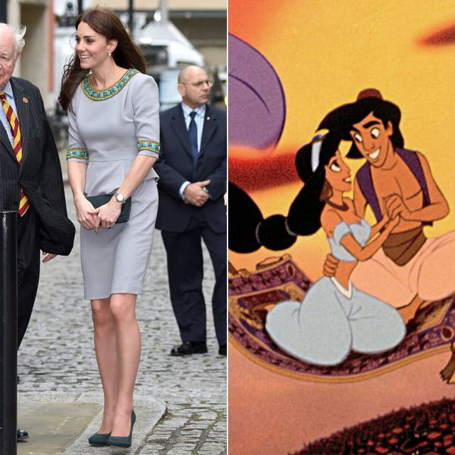 Thiết kế này của Matthew Williamson là một trong những bộ váy yêu thích của Công nương Anh. Thật dễ liên tưởng đến nàng Jasmine trong Aladin nhỉ!