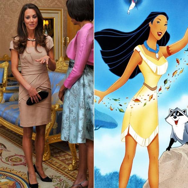 Trong một cuộc gặp gỡ với Phu nhân Tổng thống Obama, Công nương Kate Middleton đã diện bộ váy gợi nhớ đến trang phục của công chúa Pocahontas.