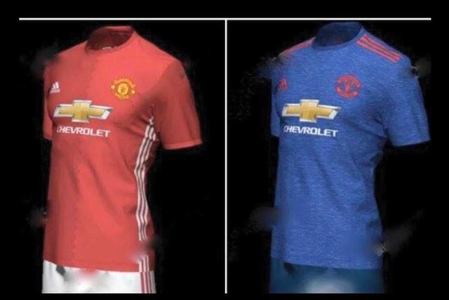 Áo sân nhà (đỏ) và áo sân khách của Man Utd