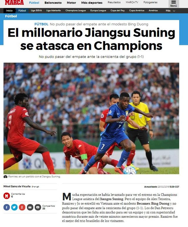 Marca đăng tải bài viết Đội bóng triệu phú Jiangsu Suning bị cầm chân tại Champions League đồng thời gọi Bình Dương là Cenicienta (Lọ Lem)