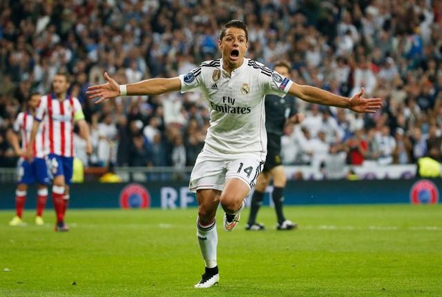 Chicharito ghi bàn giúp Real Madrid vượt qua Atletico ở tứ kết Champions League 2015 (Ảnh: Real Madrid)