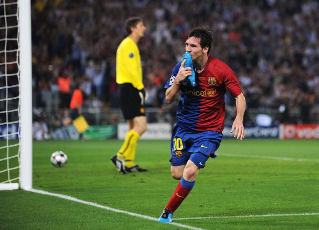 Messi đánh đầu tung lưới Man United trong trận chung kết Champions League 2008/09