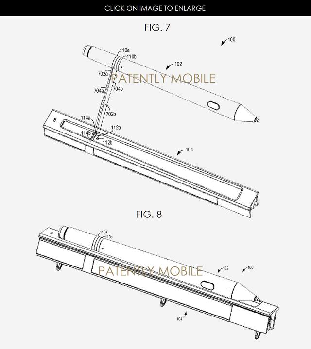 Ảnh mô tả dock sạc của Surface Pen trong đơn đăng ký sáng chế của Microsoft