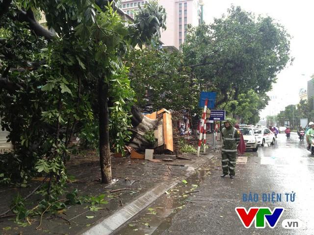 Nhân viên của Công ty Công viên cây xanh Hà Nội và Công ty Thoát nước Hà Nội có mặt để ứng trực sáng 28/7.