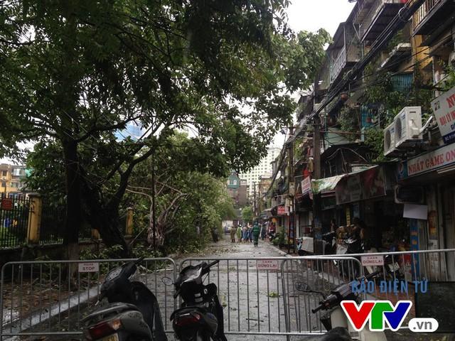 Lực lượng chức năng phong tỏa khu vực cưa cắt cây gẫy đổ, tạm thời cấm các phương tiện lưu thông qua lại.