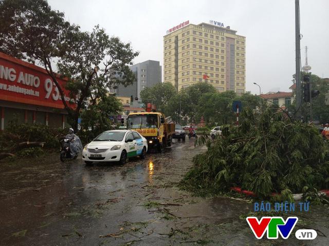 Cây xanh gẫy đổ, xe cứu hộ hoạt động hết công suất trong trận mưa lớn sáng nay tại Hà Nội.