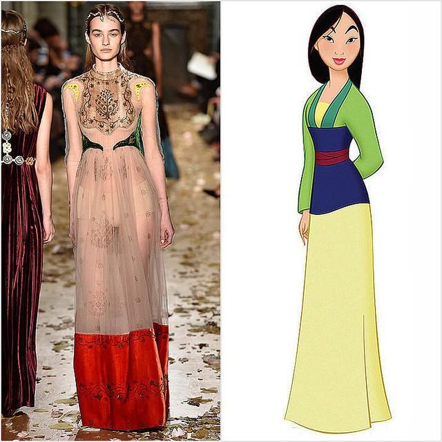 Thiết kế mềm mại, nữ tính của Valentino gợi nhắc đến hình ảnh Mộc Lan.