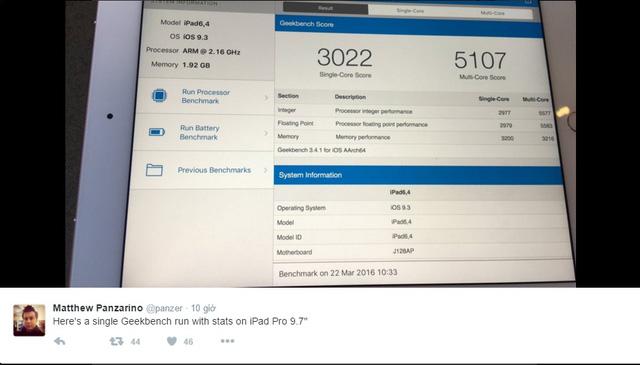 Kết quả kiểm tra hiệu năng iPad Pro 9,7 inch được Matt Panzarino chia sẻ trên Twitter