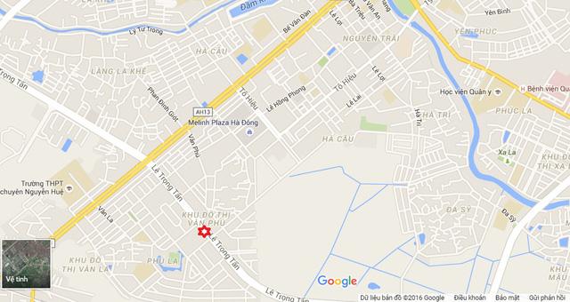 Vị trí xảy ra vụ nổ trên đường Lê Trọng Tấn thuộc khu đô thị Văn Phú, Hà Đông, Hà Nội.