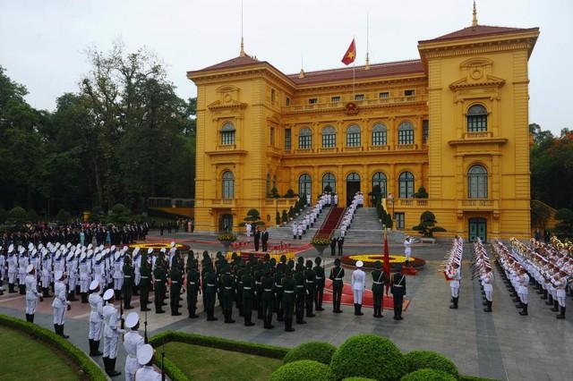 Lễ tiếp đón Tổng thống Obama tại Phủ Chủ tịch ngày 23/5.