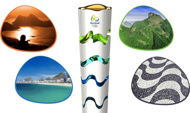 Ngọn đuốc Olympic Rio 2016 tượng trưng cho Đất, Biển, Núi và Mặt Trời