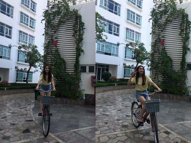Nhã Phương thích thú đạp xe kèm theo lời nhắn thú vui tao nhã....