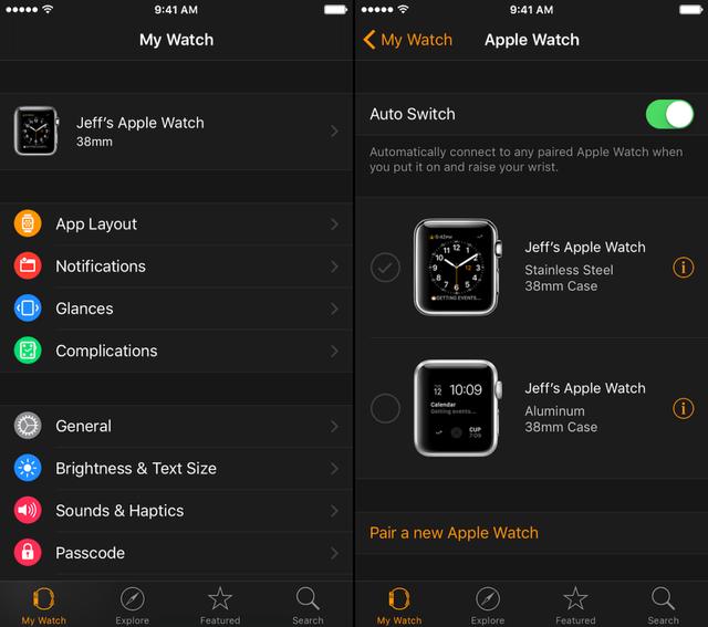 Tính năng Auto-Switch cho phép người dùng chọn những chiếc Apple Watch kết nối với iPhone