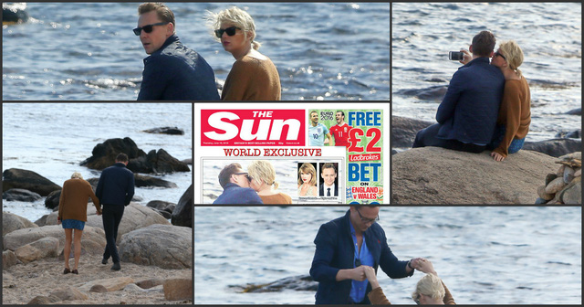 Những hình ảnh thân mật của Taylor và Tom được đăng tải trên tờ The Sun.