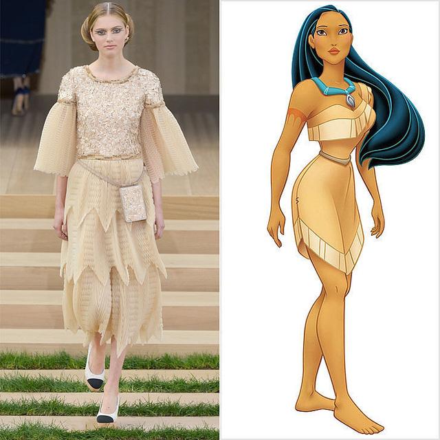 Thiết kế với nhiều chi tiết xẻ bắt mắt của Chanel được lấy cảm hứng từ bộ cánh của công chúa da đỏ Pocahontas.