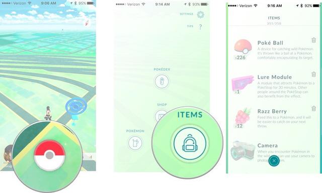 Cách thức sử dụng vật phẩm trong Pokémon GO