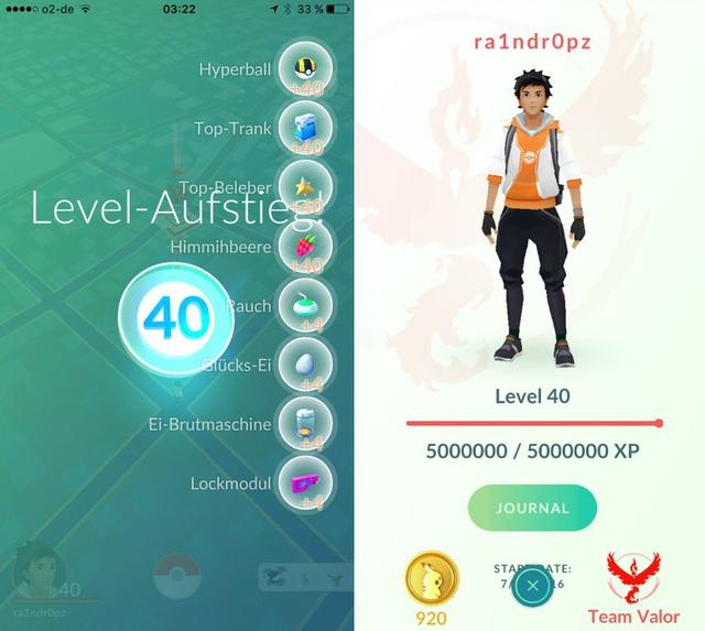 Tài khoản _problemz chia sẻ hình ảnh nhân vật trong trò chơi Pokémon GO của mình đạt tới cấp độ tối đa kèm theo các phần thưởng nhận được khi tăng cấp độ
